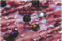 Lilac/Amethyst 4mm Fire-polish Bead Mix x100