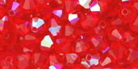 Light Siam Red  (AB) 4mm Bicone Czech Crystal x10