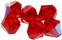 Lt. Siam Red (AB) 6mm Bicone Czech Crystal x10