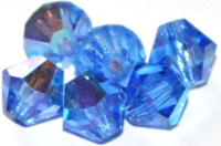 Sapphire (AB) 6mm Bicone Czech Crystal x10