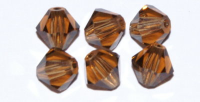 Smokey Topaz 6mm Bicone Czech Crystal x10