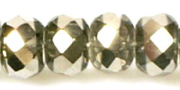 Crystal/Silver 12x9mm Crystal Rondelle Bead x1