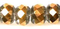 Crystal/Copper 12x9mm Crystal Rondelle Bead x1