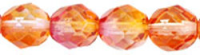 Fuchsia/Orange 8mm Czech Fire-polish Bead x25