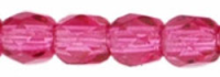 Fuchsia Pink 3mm Czech Fire-Polish Beads x50