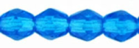 Capri Blue 3mm Czech Fire-Polish Beads x50