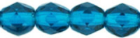 Capri Blue 4mm Czech Fire-polish Bead x50