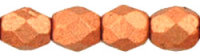 Matt Metallic Copper 4mm Czech Fire-polish Bead x50