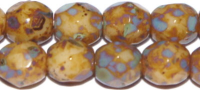 Tan Picasso 4mm Czech Fire-polish Bead x 50