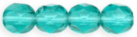 Light Teal 6mm Czech Fire-polish Bead x25