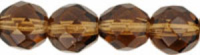Smokey Topaz 6mm Czech Fire-polish Bead x25