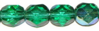 Lt. Emerald (AB) 6mm Czech Fire-polish Bead x25