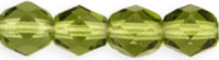 Olivine 8mm Czech Fire-polish Bead x1