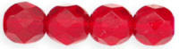 Siam Red  8mm Czech Fire-polish Bead x1