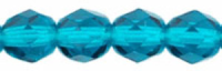 Teal/Zircon  8mm Czech Fire-polish Bead x1