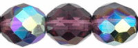 Amethyst (AB) 8mm Czech Fire-polish Bead x10