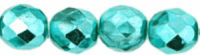 Teal 8mm Metallic Czech Fire-polish Bead x10