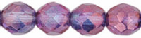 Lumi Amethyst 8mm Czech Fire-polish Bead x10