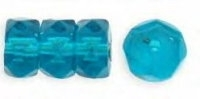 Teal  6x3mm Fire-polish Rondelle x10