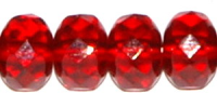 Ruby Red 7x5mm Fire-polish Rondelle Bead x25