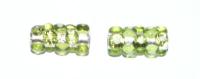 Olivine Green 15x7mm Silver Foil Dotty Cylinder