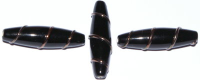 Jet Black 6x24mm Torpedo Bronze Wire Bead x1