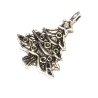 Christmas Tree Charm Antique Silver Plated x 2