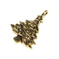 Christmas Tree Charm Antique Gold Plated x 2