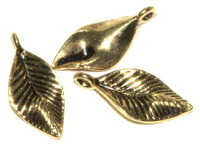 Leaf Charm 25mm Antique Gold Plated x1