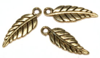 20mm Leaf Charm Antique Gold Plated x6