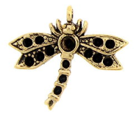 Dragonfly Charm 24mm Antique Gold Plated x1
