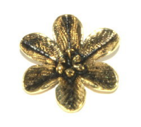 Flower Pendant 27mm Antique Gold Plated x1