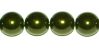 Dark Olive 4mm Glass Pearl Bead x10