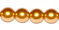 Gold  6mm Glass Pearl Bead x10