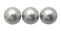 Silver Grey  6mm Glass Pearl Bead x10