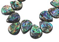 Natural Paua Shell Drop Beads x 5