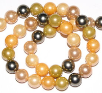 Cream/Apricot/Avocado  8mm Shell Pearl Beads  x15.5""