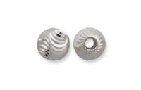 Round 6mm Wave Cut  Bead Sterling Silver x 1