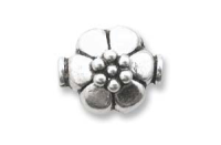 Flower Bead 12x10mm  Sterling Silver x1