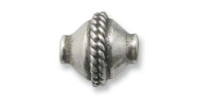 Roped Bicone Bead 10x10mm Sterling Silver x 1