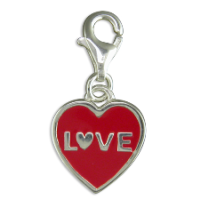Love Heart Clip-on Charm Sterling Silver x1