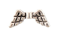 Angel Wing Bead Antique Silver Plated x10