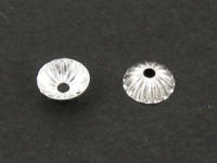 4.5mm Fluted Bead Cap Silver Plated x50