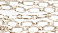 "Textured Link Chain Silver Plated x1"" (2.5cm)"