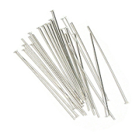 "1"" Head Pin (25mm x 0.5mm) Silver Plated x 144"