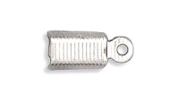 Fold Over Cord End Rhodium Plated x100