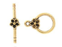 Round Toggle Clasp Antique Gold Plated x1