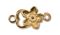 Flower Hook & Eye Clasp Gold Plated x 1