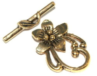 Flower Toggle Clasp Antique Gold Plated  x1