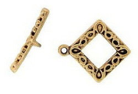 Square Toggle Clasp Antique Gold Plated x 2